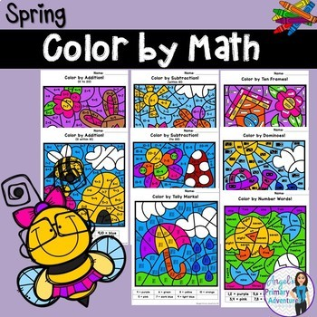 Spring Color by Code Math Activities