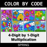 Spring Color by Code - Multiplication: 4-Digit by 1-Digit
