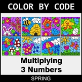 Spring Color by Code - Multiplying 3 Numbers