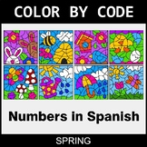 Spring Color by Code - Numbers in Spanish