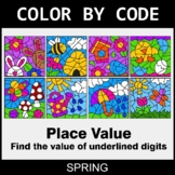Spring Color by Code - Place Value of Underlined Digit