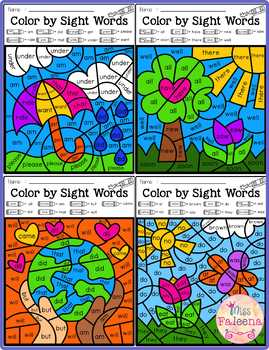 Spring Color by Code -Sight Words Primer