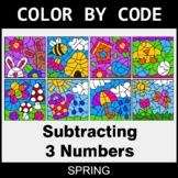 Spring Color by Code - Subtracting 3 Numbers