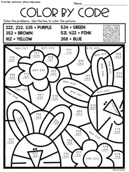 Spring Color by Code - Two-Digit and Three-Digit Addition and Subtraction