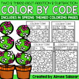 Spring Color by Code - Two-Digit and Three-Digit Addition