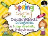 Spring Color by Describing, 1 and 2 Step Directions, Categories