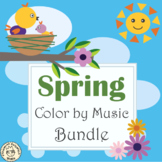 Spring Music Coloring Pages | Color by Note | Bundle