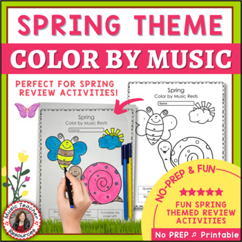 Music Activities - Spring Color by Music Symbol