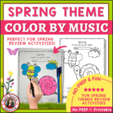 Color by Music Sheets: 26 Spring Color by Music Notes and Symbols