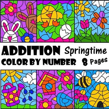 Spring Color by Number Addition Set
