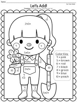 Spring Activities: Spring Color by Number Addition & Subtraction