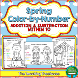 Spring Color by Number, Addition & Subtraction Within 10