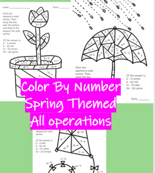 Spring -Color by Number - Math - Addition, Subtraction, Multiplication, Division