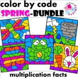 Spring Color by Number Multiplication Facts BUNDLE
