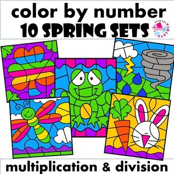 Spring Color by Number Multiplication Facts & Division Facts Mega BUNDLE
