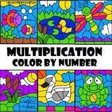 Spring Color by Number Multiplication Pond Life Set