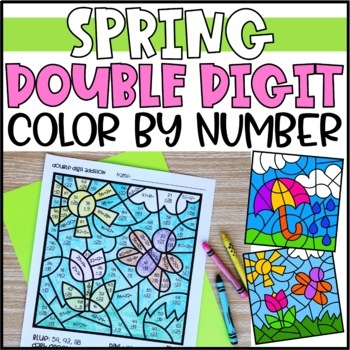 Spring Color by Number Mystery Pictures: Double Digit Addition & Subtraction