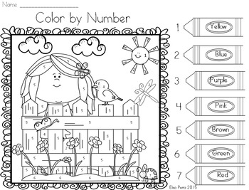 Spring Color by Number - Number Identification