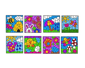Spring Color by Number Set in Spanish