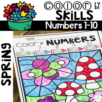 Spring Color by Code Numbers 1-10 Activities