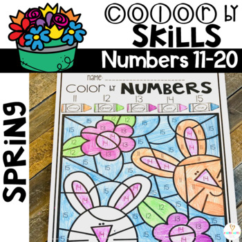 Spring Color by Code Numbers 11-20 Activities