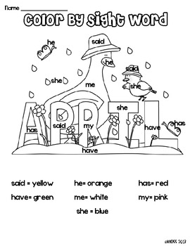 Spring Color by Sight Words Activity