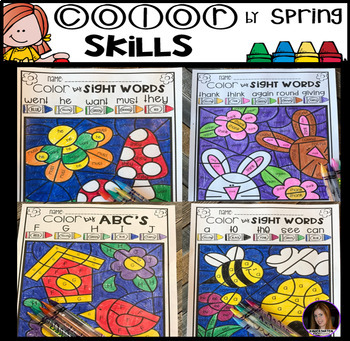 Spring Color By Code Sight Words Word Families And ABCs Freebie