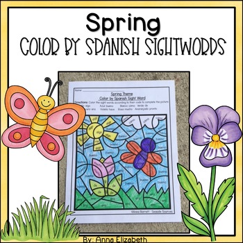 Spring Color by Spanish Sight Words