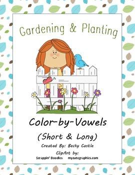 Spring Color-by-Vowels (Short & Long), 8 Total-4 Short Vowel & 4 Long Vowel