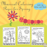 Spring Music Coloring Pages | Color by Notes and Rests
