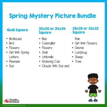 Spring Break Coloring Worksheets, Spring Color-by-Number Activity