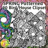Spring Coloring Clip Art Set Commercial and Personal Use