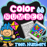 Spring Color by Number | Color by Teen Number Spring | Tee