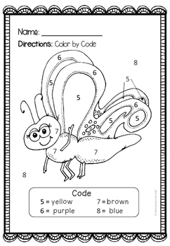 Spring Coloring - Color by Number {Freebie}