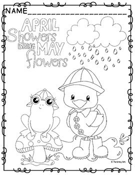 Spring Coloring Pages- April Showers Bring May Flowers