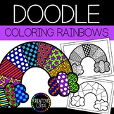 Spring Coloring Pages: Doodle Shape Rainbow {Made by Creative Clips}