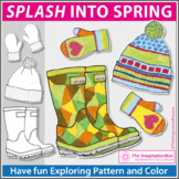 Spring Coloring Pages | Rain boots and Umbrella Art Activity