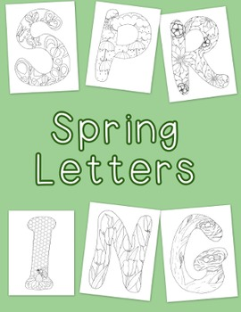Spring Coloring Pages pdf Seasons Flowers Butterflies Bees Tulips Banner