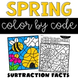 Spring Coloring Pages with Subtraction Facts