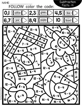 spring coloring pages with subtraction factsteaching second grade