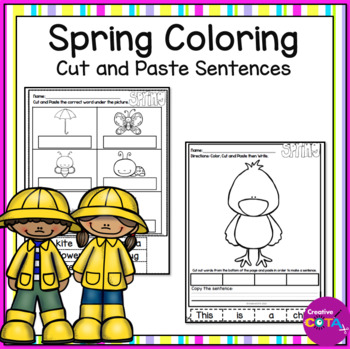 No Prep Spring Coloring and Cut and Paste Sentences