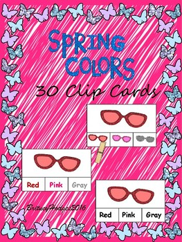 Spring Colors Clip Cards 3 Levels! 10 colors