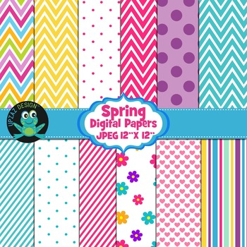 Spring Colors Digital Papers - UZ881