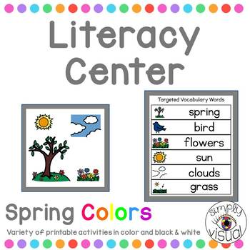 Spring Colors Literacy Center with Printable Activities
