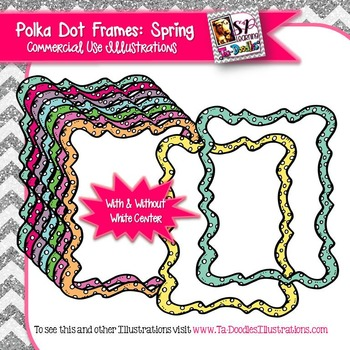 Spring Colors Polka Dot Rectangle Frame Clip Art