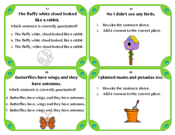 Spring Comma Task Cards (Set of 24)