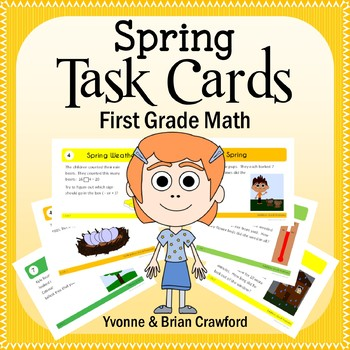Spring Math Task Cards (1st Grade Common Core)
