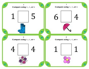 Spring Comparing Numbers Math Task Card Set (28 Cards) Grades K-2