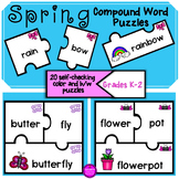 Spring Compound Word Puzzles for Word Work and Literacy Activities