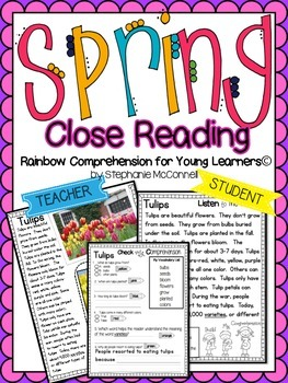 Spring Comprehension Passages for Young Learners-Close Reading FREEBIE